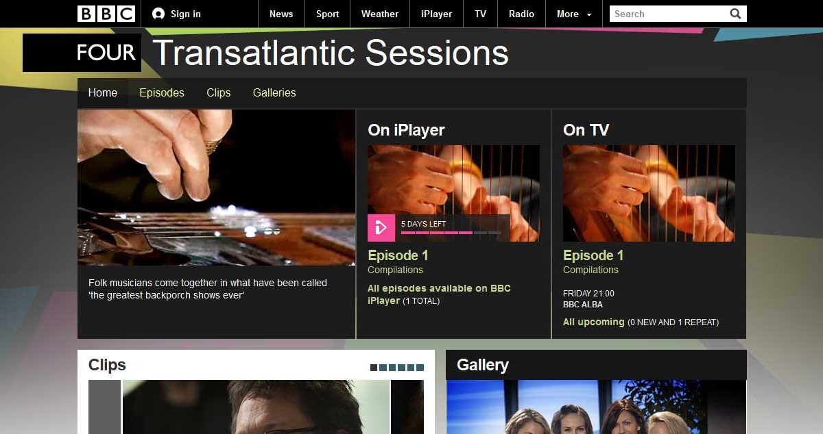 BBC Transatlantic Sessions Screenshot