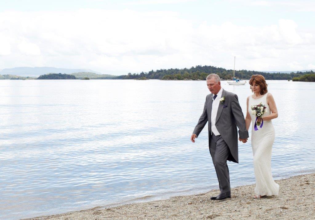 Wedding at Lodge on Lomond walking beach side