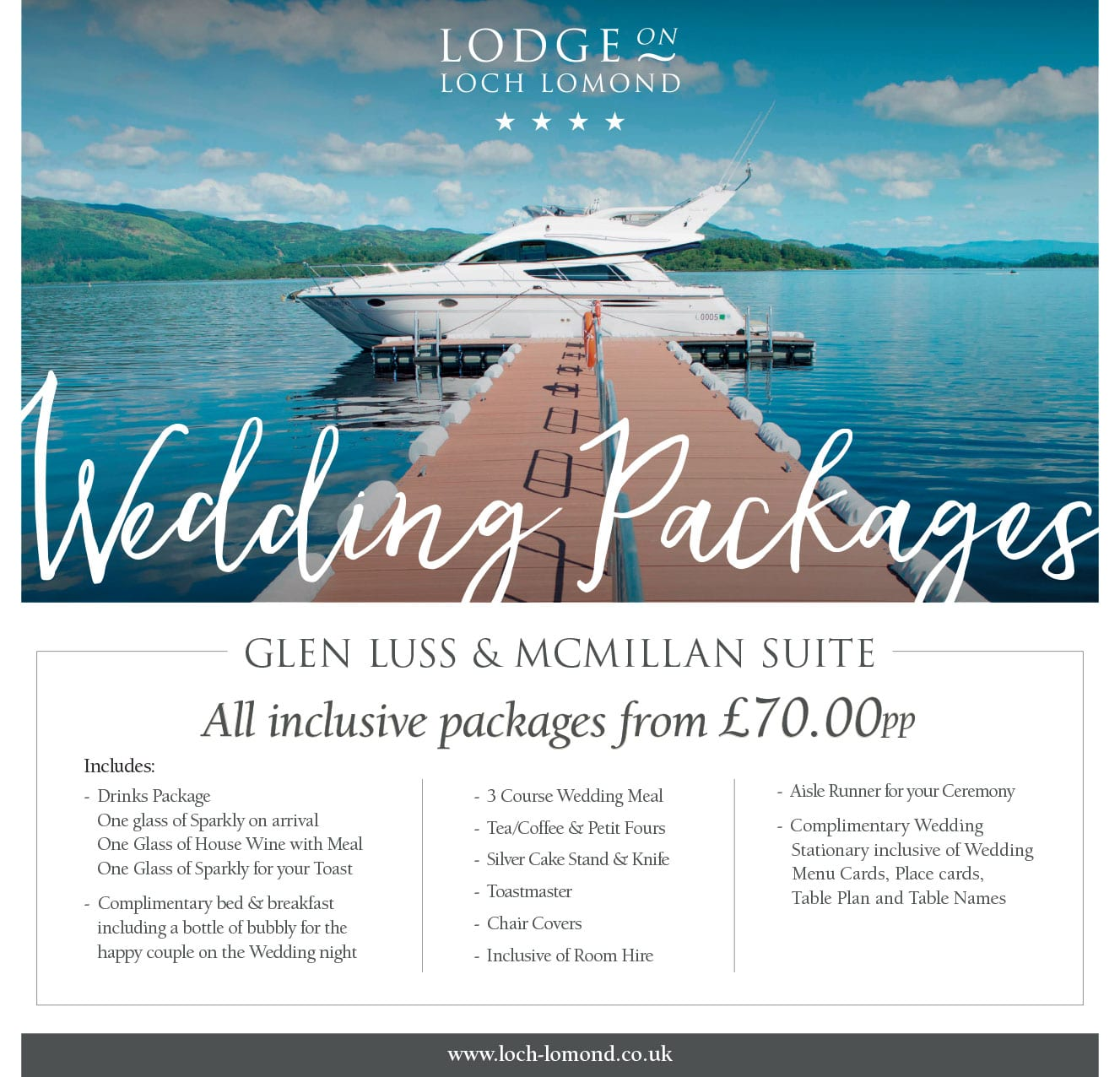 Lodge on Loch Lomond Wedding Packages 2020 to 2021